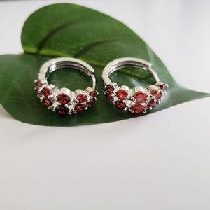 ⭐3/$20 Orange Rhinestone Silver Huggie Earrings